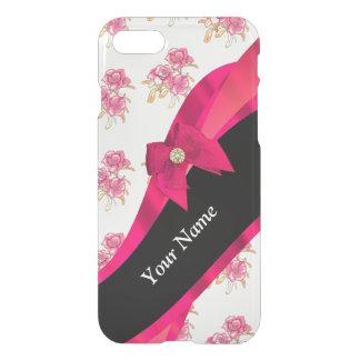 Estampado de plores floral del vintage rojo bonito funda para iPhone 7