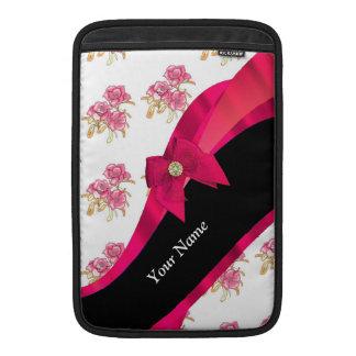 Estampado de plores floral del vintage rojo bonito fundas macbook air