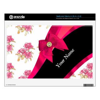 Estampado de plores floral del vintage rojo bonito netbook mediano skins