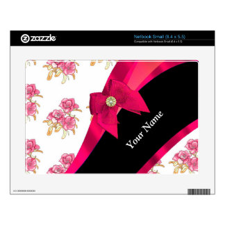 Estampado de plores floral del vintage rojo bonito netbook skins