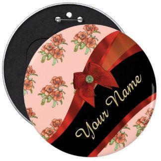 Estampado de plores floral del vintage rojo bonito chapa redonda 15 cm