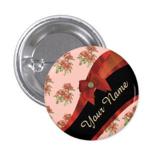 Estampado de plores floral del vintage rojo bonito chapa redonda 2,5 cm