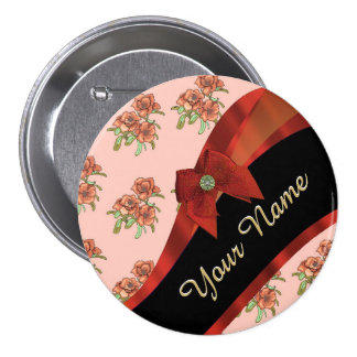 Estampado de plores floral del vintage rojo bonito chapa redonda 7 cm