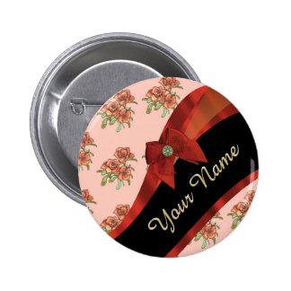 Estampado de plores floral del vintage rojo bonito chapa redonda 5 cm