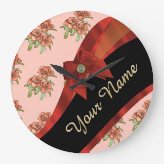 Estampado de plores floral del vintage rojo bonito reloj redondo grande