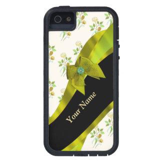 Estampado de plores floral del vintage verde funda iPhone SE/5/5s