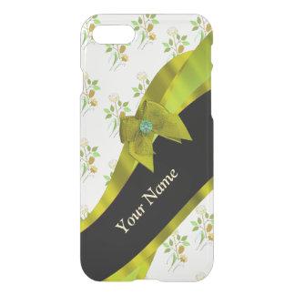 Estampado de plores floral del vintage verde funda para iPhone 7