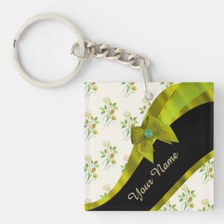Estampado de plores floral del vintage verde llavero cuadrado acrílico a doble cara