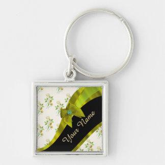 Estampado de plores floral del vintage verde llavero cuadrado plateado