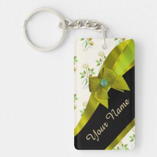 Estampado de plores floral del vintage verde llavero rectangular acrílico a una cara