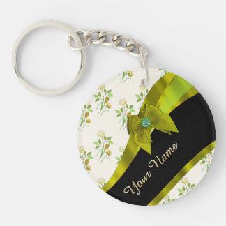 Estampado de plores floral del vintage verde llavero redondo acrílico a doble cara