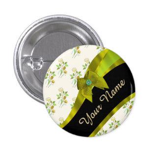 Estampado de plores floral del vintage verde chapa redonda 2,5 cm