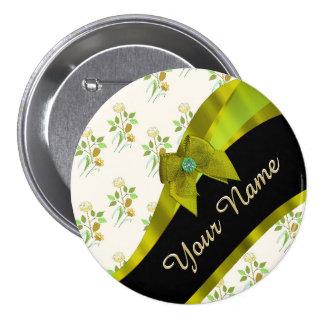 Estampado de plores floral del vintage verde chapa redonda 7 cm