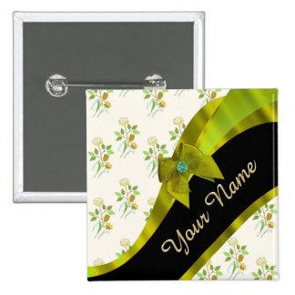 Estampado de plores floral del vintage verde chapa cuadrada 5 cm