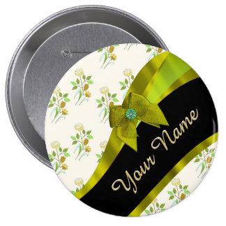 Estampado de plores floral del vintage verde chapa redonda 10 cm