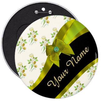 Estampado de plores floral del vintage verde chapa redonda 15 cm