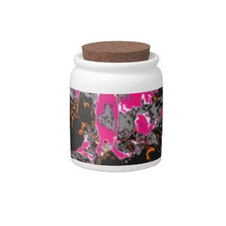 Estampado de plores floral negro de la dalia tarro de cerámica para dulces