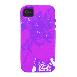 Estampado de plores floral púrpura de la dalia vibe iPhone 4 carcasa