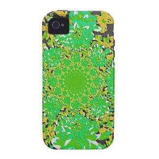 Estampado de plores floral Verde-Amarillo Vibe iPhone 4 Fundas