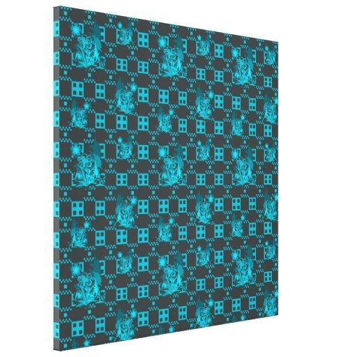 Estampado de plores geométrico azul impresiones en lienzo estiradas