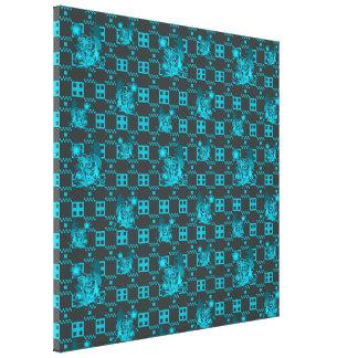Estampado de plores geométrico azul impresion de lienzo