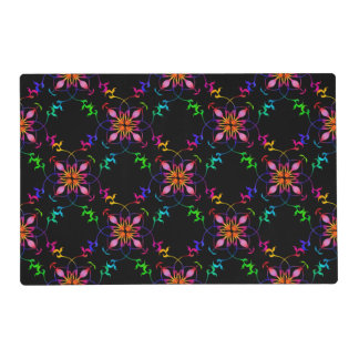 Estampado de plores geométrico del arco iris en tapete individual