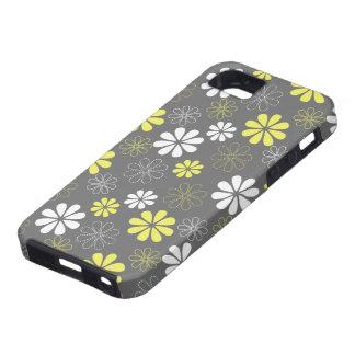 Estampado de plores gris y amarillo iPhone 5 funda