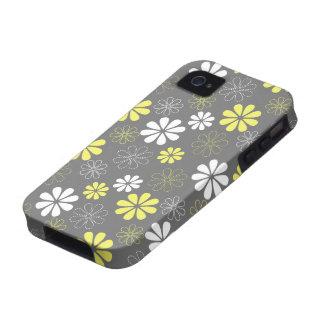 Estampado de plores gris y amarillo iPhone 4/4S carcasa