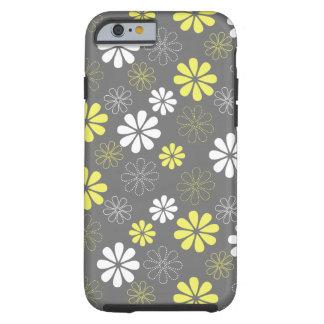 Estampado de plores gris y amarillo funda de iPhone 6 tough