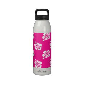 Estampado de plores hawaiano de color rosa oscuro botellas de agua reutilizables