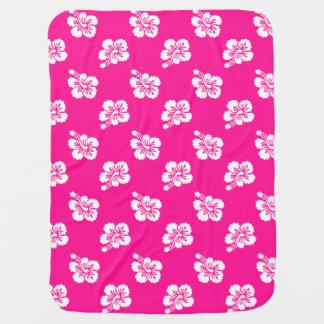 Estampado de plores hawaiano de color rosa oscuro manta de bebé
