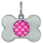 Estampado de plores hawaiano de color rosa oscuro placas de nombre de mascota