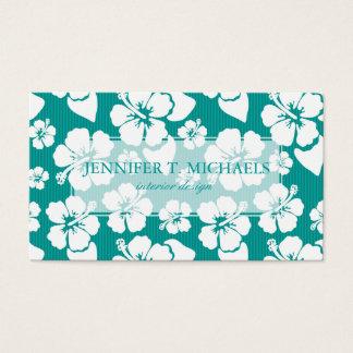 Estampado de plores hawaiano del hibisco tarjetas de visita