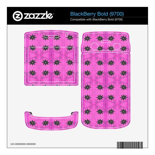 Estampado de plores negro rosado skins para BlackBerry bold
