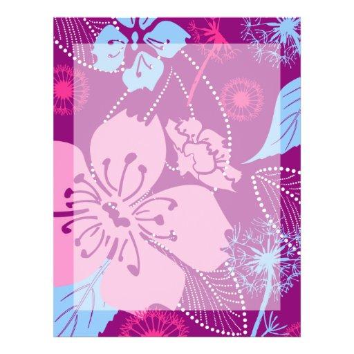 """Estampado de plores púrpura 8,5"""" x 11"""" papel con m membrete a diseño"""