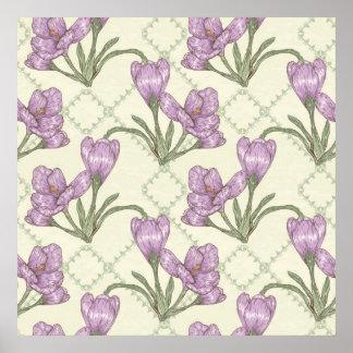 Estampado de plores púrpura bonito del iris impresiones
