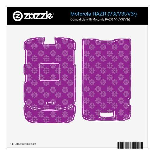 Estampado de plores púrpura calcomanía para motorola RAZR