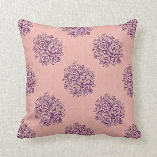 Estampado de plores púrpura P305 del vintage del Cojín Decorativo