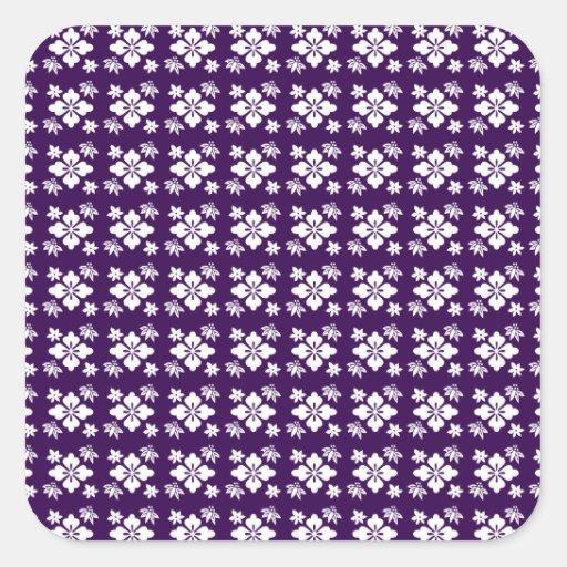 Estampado de plores púrpura pegatina cuadrada