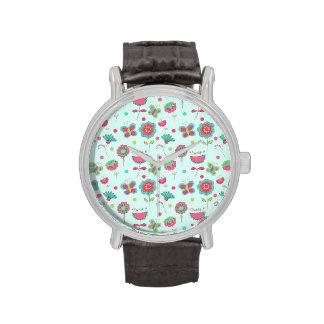Estampado de plores retro colorido relojes de mano