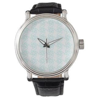 Estampado de plores rizado - azul claro en blanco relojes