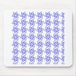 Estampado de plores rizado - azul en blanco alfombrilla de ratones