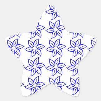 Estampado de plores rizado - azul en blanco pegatina en forma de estrella