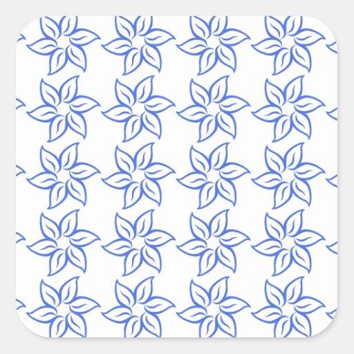 Estampado de plores rizado - azul real en blanco calcomanías cuadradases