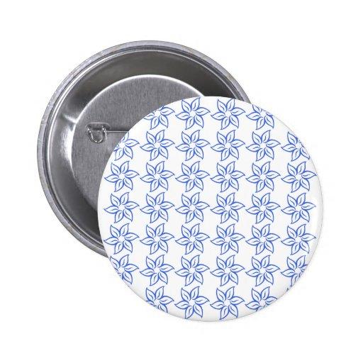 Estampado de plores rizado - azul real en blanco pin redondo 5 cm