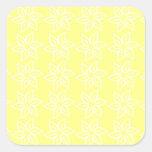 Estampado de plores rizado - blanco en amarillo colcomanias cuadradases