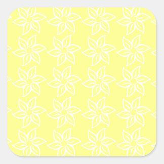 Estampado de plores rizado - blanco en amarillo pegatina cuadrada