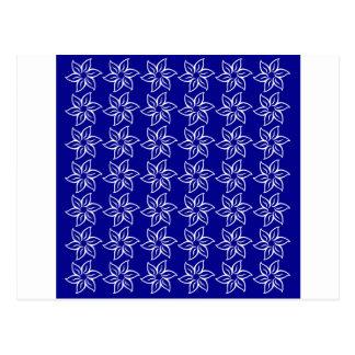 Estampado de plores rizado - blanco en azul marino tarjetas postales