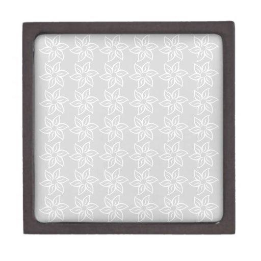 Estampado de plores rizado - blanco en gris claro caja de joyas de calidad