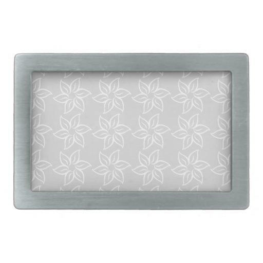 Estampado de plores rizado - blanco en gris claro hebilla de cinturón rectangular